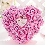 ZJchao Kissen für Hochzeitsringe, 15 x 13 cm, Herzform, Geschenk, Ringbox, romantisch, Rose, rose, Einheitsgröße