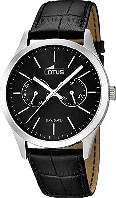 Lotus 15956/3 - Reloj de cuarzo para hombre, correa de cuero color negro
