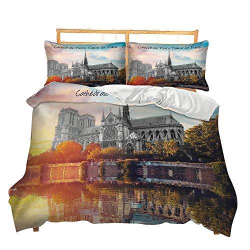 Bettwäsche Set Europa Amerika Städtisches Wahrzeichen Gebäude Landschaft Digital Drucken Bettbezug und Kissenbezug (Notre Dame de Paris, King Size 220 x 240 cm)
