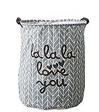 YOUJIA Stoff Wäschebehälter für Schmutzwäsche Klappbare Wäschekorb Wäschesammler Wäschebox Rund Wäschetonne Kleidung Spielzeug Aufbewahrung Korb Grau