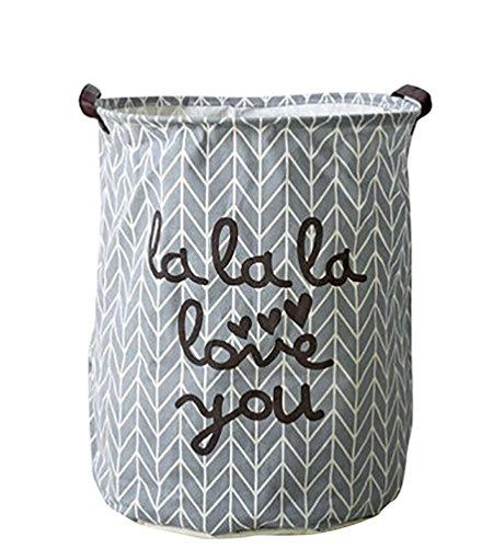 Youjia tessuto portabiancheria impermeabile tondo cesto per biancheria sporca grande contenitori di immagazzinaggio cesto portaoggetti con le maniglie grigio