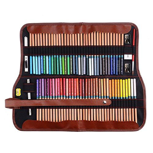 2 Art Wasser Buntstifte Bleistifte mit Roll Up Leinwand Tasche Paket Für Erwachsene Färben Bücher Zeichnen Schreiben Skizzieren ()