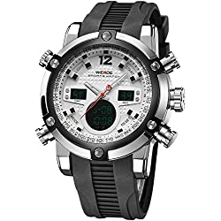 Alienwork DualTime Analogue-Digital Watch Chronograph LCD Wristwatch Multi-function Polyurethane black black OS.WH-5205J-02