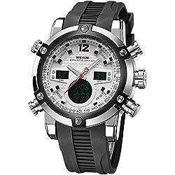 Alienwork DualTime Analogue-Digital Watch Chronograph LCD Wristwatch Multi-function Polyurethane black black OS.WH-5205J-02