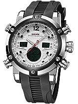 Alienwork DualTime Analog-Digital Armbanduhr Chronograph LCD Uhr Multi-funktion schwarz Polyurethan OS.WH-5205J-02
