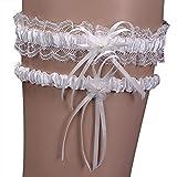 iShine Giarrettiera per la Sposa Set di 2 pezzi con Pizzo di Nastro Bianco per Matrimoni Cerimonia Nuziale Fiori immagine