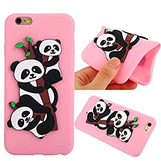 Aeeque Pink iPhone 6 Plus/6S Plus Case, 3D Cute Panda Pattern Ultra Thin Slim Fit Soft TPU Silicone [Scratch Resistant] [Shock Absorption] Cover for iPhone 6 Plus iPhone 6S Plus - 5.5 inch