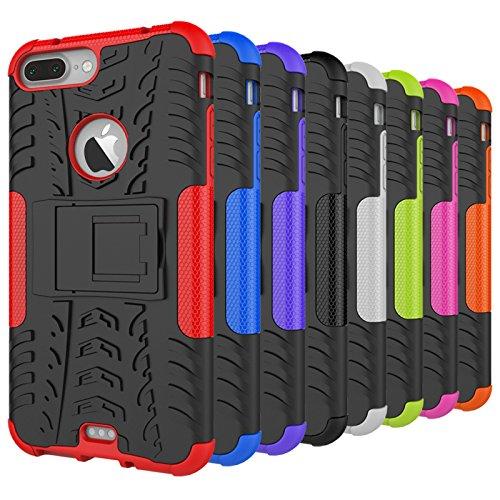 Qiaogle Téléphone Coque - Shock Proof TPU + PC Hybrid Stents Housse Case pour Apple iPhone 6 / iPhone 6S (4.7 Pouce) - HH17 / Noir & Orange HH10 / Noir & Rouge