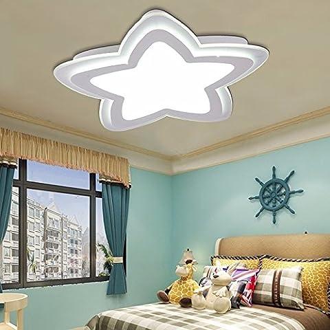 Chambre simple et chaleureuse pour enfants LED plafonnier fille garçon dessin animé télécommande à la mode lampe de chambre d'étoiles, bleu
