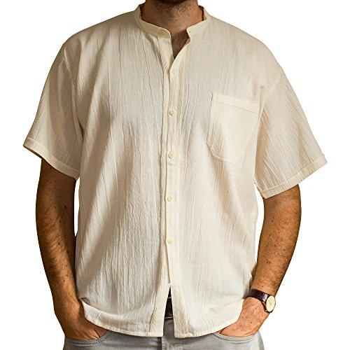 Tumia Lac, kurzärmliges Großvaterhemd, 100% Baumwolle, verschiedenen Farben, ethisch gehandelt Gr. XX-Large, beige (Cabana Kurz)