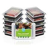 10er Pack Einzelfach Mahlzeit Prep Container mit Free Rezepte & Größe Guide. Lebenslange Garantie. Multi, Geschirrspüler, Gefrierschrank und Mikrowelle Safe. BPA-frei Bento Lunch Box.