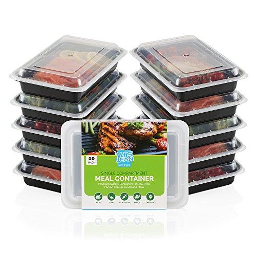 10er Pack Einzelfach Mahlzeit Prep Container mit Free Rezepte & Größe Guide. Lebenslange Garantie. Multi, Geschirrspüler, Gefrierschrank und Mikrowelle Safe. BPA-frei Bento Lunch - Rezepte Gefrierschrank