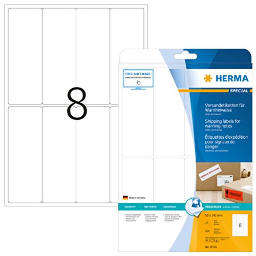HERMA 8326 Warnhinweis Aufkleber DIN A4 (50 x 142 mm, 25 Blatt, Papier, matt) selbstklebend, bedruckbar, permanent haftende Versand-Etiketten, 200 Klebeetiketten, weiß
