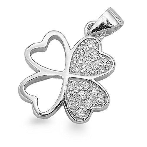 Amuleto trébol de la suerte de cuatro hojas de plata como colgante trébol de la suerte #1411