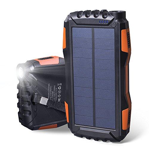 Elzle Cargador Solar 25000mAh Portátil Solar Power Bank a prueba de golpes a prueba de polvo Salida Solar Cargador de batería, Cargador Solar Exterior Teléfono Cargador Externo Batería Teléfono Cargador con Fuertes Luces LED
