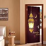 CXQWAN 3D Tür Aufkleber Muslim Ramadan Segen Dekorative Wandaufkleber DIY Wasserdicht Abnehmbar Selbstklebende Tapete