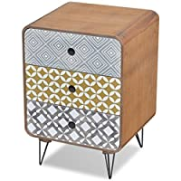 vidaXL Side Cabinet with 3 Drawers Brown Bedside Nightstand Telephone Stand