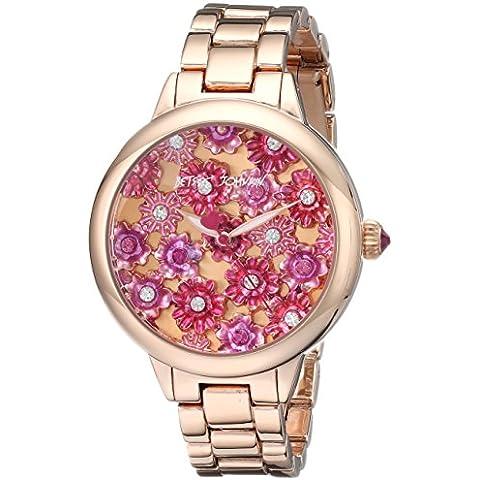 Betsey Johnson bj00 443-02 fiori multicolori in oro rosa con quadrante in oro rosa da donna in acciaio con orologio