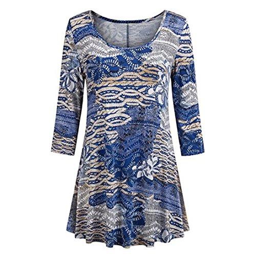 VJGOAL Damen Bluse, Damen Mode lässig böhmischen Blumendruck O-Neck Shirts 3/4 Langen Ärmeln O-Neck Tunika Bluse Tops (Beige, 42)