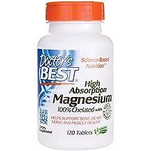 Doctors Best, de magnesio, de alta absorción del médico, 100% quelatado,