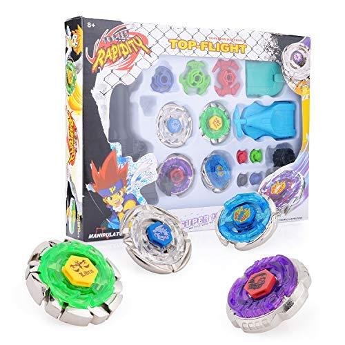 Colmanda Gyro, 4D Fusion Modell Metall Masters Beschleunigungslauncher Speed Kreisel mit Basis-Arena Kinder Spielzeug Kindertag, Ostern, Weihnachten, Geburtstag (4 pcs)
