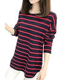 0bed36274df9 AILIENT Langarmshirt Damen Langarm Elegant Streifen Lang Bluse Unregelmäßig  Saum Shirts Modisch Oberteil Tunika