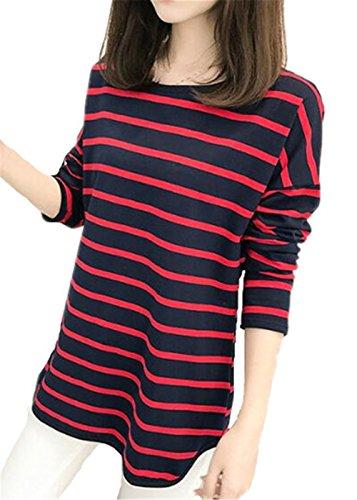 BESTHOO Camicia Donna T Shirt Vintage Rotondo Collo Eleganti Lunga Basic A Strisce Slim Maglie A Manica Lunga Maglietta Eleganti Red and Blue