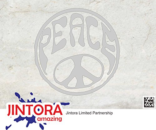 JINTORA Aufkleber für Auto/Autoaufkleber- Hippie Peace - 88x90mm - JDM/Die cut - Bus - Fenster - Heckscheibe - Laptop - LKW - Tuning - silber