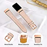 Mornex Strap Compatible Charge 3 Strap/Charge 3 SE Leather Strap, Classic Adjustable Replacement Wristband Fitness Accessories Metal Connectors,Rose Gold-Beige