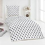 Dreamhome24 Hochwertige Microfaser Bettwäsche Bettbezug Sterne Stars pink blau 135x200 80x80, Design - Motiv:Design 2