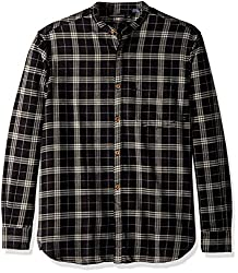 French Connection Mens Worsted Wool Check Button Down Shirt, Black Check, L