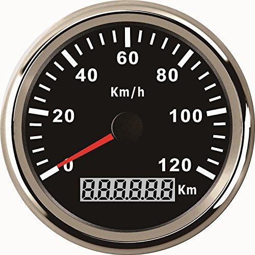 Wasserdichter GPS-Tacho-Kilometerzähler, Anzeige bis 120 km/h für Autos, Motorräder, LKW, mit Hintergrundbeleuchtung, 85mm, 12V/24V - Gps-auto-tacho