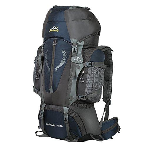 HWJIANFENG 80+5L Sac à Dos de Randonnée pour Femme Homme Sac de Sport pour Alpinisme Escalade Voyage Bivouac Trekking Camping Bleu Foncé