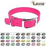 LENNIE BioThane Halsband, Dornschnalle, 16 mm breit, Größe 22-28 cm, Neon-Pink, Aufdruck möglich