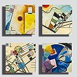 Quadri Moderni KANDINSKY 4 pezzi 30x30 cm giallo blu rosso Stampa su Tela CANVAS Arredamento Arte XXL Arredo soggiorno salotto camera da letto cucina ufficio bar ristorante (4 pezzi 30x30 cm cad.)