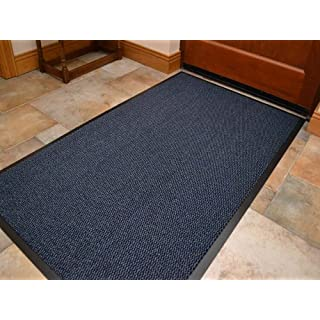 Rugs Supermarket Machine Washable Blue Black Heavy Quality Non Slip Hard Wearing Barrier Mat. Available in 8 sizes (80cm x 120cm)