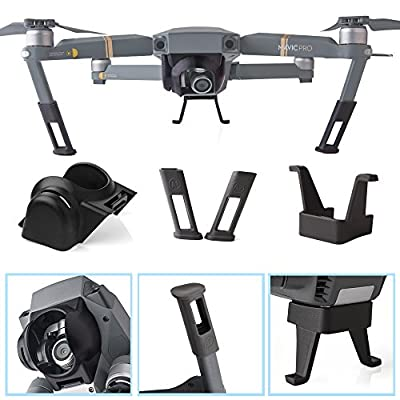 Kuuqa Landing Gear Leg Height Extender Kit and Sun Shade Lens Hood Gimbal Guard for DJI Mavic Pro (DJI Mavic Not Included)