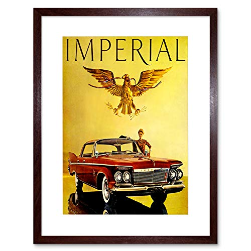 ADVERT 1961 IMPERIAL CAR AUTOMOBILE RED NEW BLACK FRAMED ART PRINT B12X10509 -