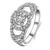 Daesar Silberring Damen Ring Silber Ehering für Damen Verlobungsring Benutzerdefinierte Ring Hohl Runde Strass Ring Größe:56 (17.8)