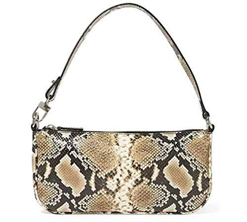 Damen Schultertasche Krokodilmuster Leder Baguette Unterarm-Paket Frauen Clutch Bag, Retro Krokoprägung Schultertasche Handtaschen (F, 28.5 * 4 * 13.5cm)