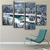 xiaohaimian Leinwandbild Drucken Ölgemälde wandmalerei 4 STÜCK See flims Schweiz Wandkunst Bild Für Wohnzimmer malerei