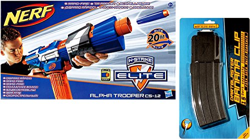 Nerf N-Strike Elite Alpha Trooper CS-12 + extra Blasterparts Banana Clip Magazin (Elite Clip)