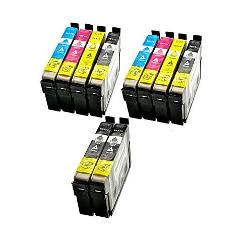 10 x kompatible Tintenpatronen (Druckerpatronen) Epson D78 mit CHIP und Füllstandanzeige , kompatibel zu Epson 4x schwarz T0711 2x cyan T0712 2x magenta T0713 2x gelb T0714 - für Epson Stylus SX100 SX105 SX110 SX115 SX200 SX205 SX210 SX215, SX40 SX405 SX410 SX415 SX510W SX515W SX600FW SX610FW D120 D78 D92 DX4000 DX4050 DX4400 DX5000 DX6000, DX6050 DX7000F DX7400 DX7450 DX8400 DX8450 DX9400F Office B40W BX300F BX600FW BX610FW S20 S21