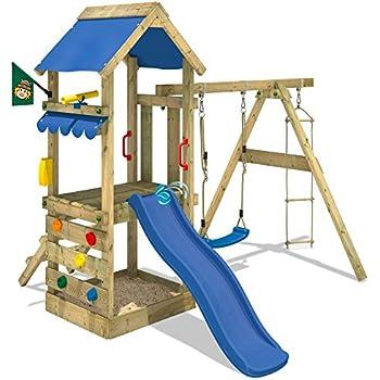 WICKEY Play Tower FreshFlyer Climbing Frame Playground With Sandbox,  Climbing Wall, Swing And Slide