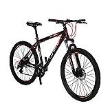 """Vélo Tout Terrain 27.5 """" x 19 """" Extrbici VTT Cyrusher Vélo de Montagne avec Suspension de la Fourche et Frein Mécanique, Cadre en Alliage d'Aluminium Rouge Noir (UK STOCK)..."""