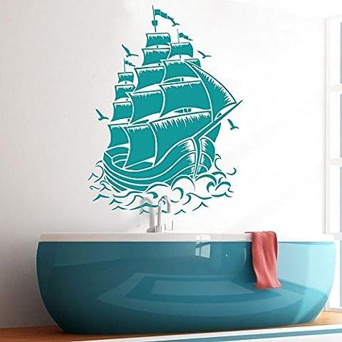 Sticker bateau pirate bateau à voile mural en vinyle nautique mur graphique affiche murale en vinyle Home Art Décoration, Vinyle, Turquoise, 54