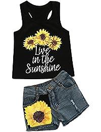 Logobeing Conjunto Ropa Bebe Niña Verano Camiseta de Tirantes con Estampado  de Letras Y Pantalones Cortos b23b8e57668