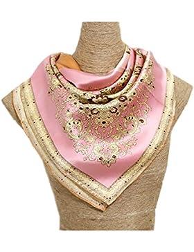 Silk Run- 'Cuatro colores de anacardo' bufanda cuadrada de seda 100% (90 cmx90cm, Tamaño: Grande)