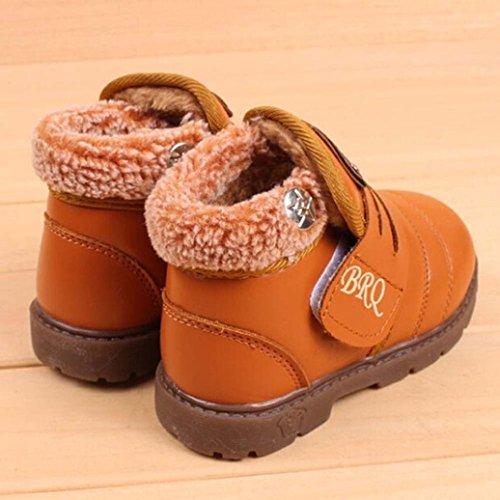 BZLine® Kleinkind Baby Mädchen jungen Winter Dicke Schnee Stiefel Lederschuhe Gelb