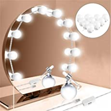 LEDMOMO Makeup Mirror Light Vanity Mirror Light Bulbs Kit for Dressing Table with Press Button and USB Power Supply Plug